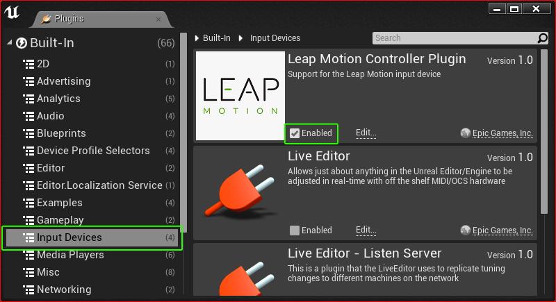Leap Motion Unreal Plugin — Leap Motion Python SDK v2 3
